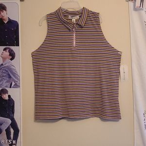 Eye candy Junior plus Rib Stripe Top 2X